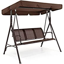 Best Choice Products Outdoor 2 Person Patio Canopy Swing Weather Resistant Powder Finish - Dark Brown