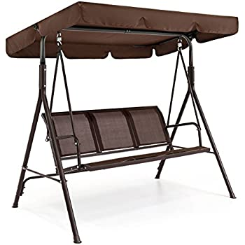 Best Choice Products Outdoor 2 Person Patio Canopy Swing Yard Furniture  W/Plush Cushions, And Weather Resistant Powder Finish (Dark Brown)