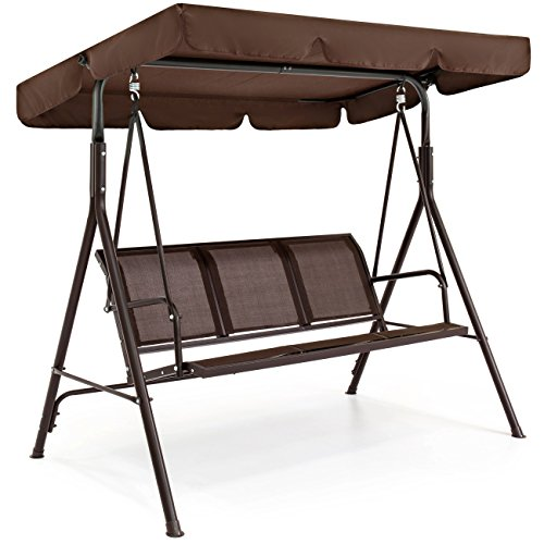 Best Choice Products 2-Person Outdoor Steel Polyester Convertible Canopy Swing Chair Bench w/Weather-Resistant Powder Finish, Brown