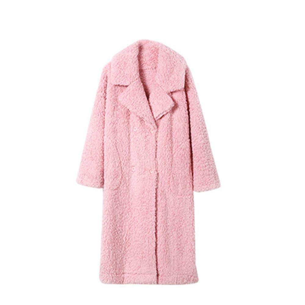 Robe Winter Ladies Pajamas Long Nightgown Thick Warm Bathrobe Large Lapel Light and Sweet (Size   XL)
