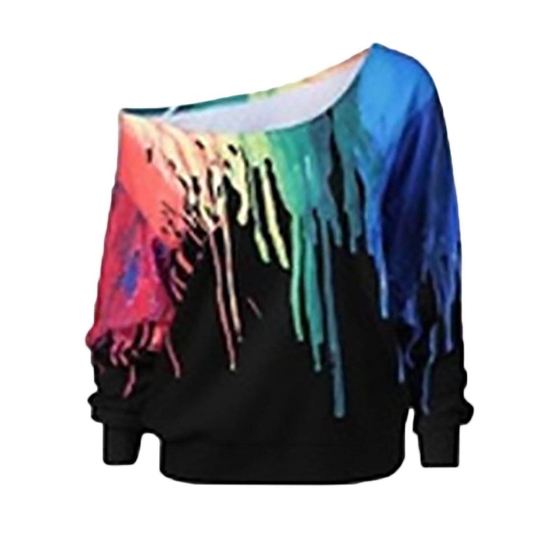 c9d8dbf1b44aaf Damen Pullover Herbst Winter Sweatshirts Oversize Classic Mehrfarbig  Sweatshirt Langarm T-Shirt Mode One Shoulder