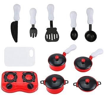 Sharplace 11 Piezas Juguete de Cocina con Utensilios de Ollas Sartenes de Simulación Juego de rol para Niños: Amazon.es: Juguetes y juegos