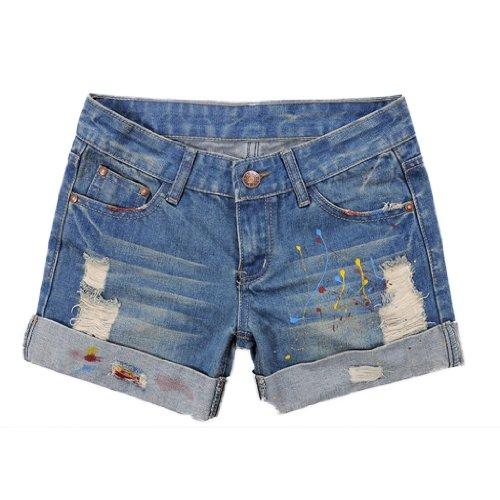 Mabella Women's Blue Graffiti Ripped Rolled Cuff Denim Mini Jeans Shorts - 2.7 inch