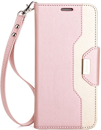 Price comparison product image ProCase Galaxy S8 Plus Wallet Case, Flip Kickstand Case with Card Slots Mirror Wristlet, Folding Stand Protective Cover for Samsung Galaxy S8+ 2017 -Pink