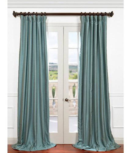 Half Price Drapes PDCH-HANB52-120 Yarn Dyed Faux Dupioni Silk Curtain, Blue Agave ()