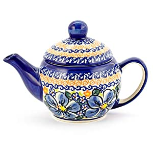 Polish Pottery, Handpainted and Handcrafted Ceramic Teapot 500ml ― Blue Flowers Artistic Pattern (A506)