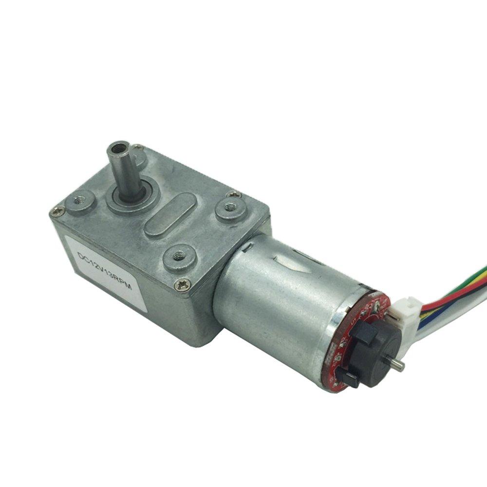 Bringsmart JGY-370B 4rpm 12V DC Worm Gear Motor with Encoder Disk 5.7kg.cm High Torque Low Speed Mini Gear box for Toys Micro Electric Machine Encoding Board (JGY-370B 12V 4rpm)