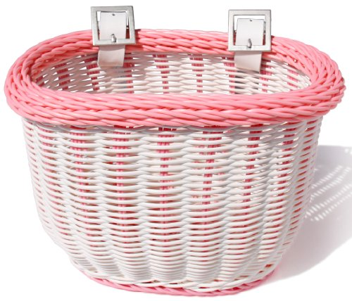 Colorbasket 01273 Front Handle Bar Kids Bike Basket, Water Resistant, Leather Straps, White with Pink - Basket Girl Bicycle