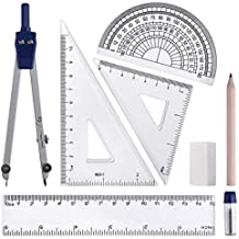 WXJ13 8 Piece Math Geometry Tools Compass Set for Students, Includes: Compass, Linear Ruler, Protractor, Pencil, Set Square, Storage Bag