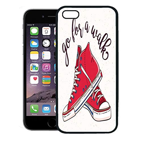 Semtomn Phone Case for iPhone 8 Plus case,Girl Go for Walk Pair of Vintage Red Sneakers Shoe Drawing Sketch iPhone 7 Plus case Cover,Black