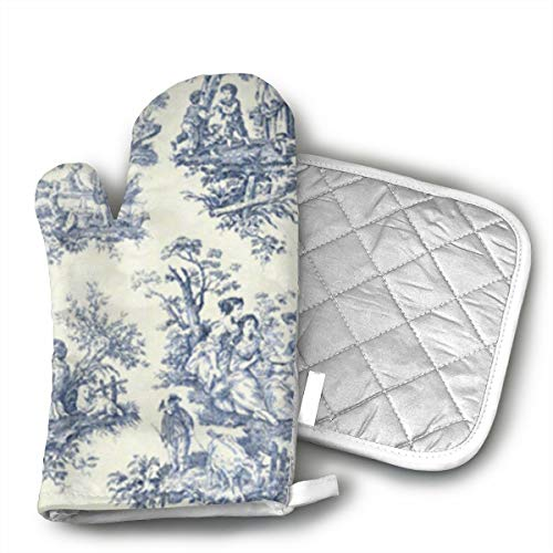 HEPKL Oven Mitts and Potholders Toile De Jouy Wallpaper Non-Slip Grip Heat Resistant Oven Gloves BBQ Cooking Baking Grilling ()