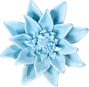 Blue Ceramic Flowers Wall Decor Handmade 3D Flower Wall Art Hanging Decor for Livingroom Bedroom 3.94""