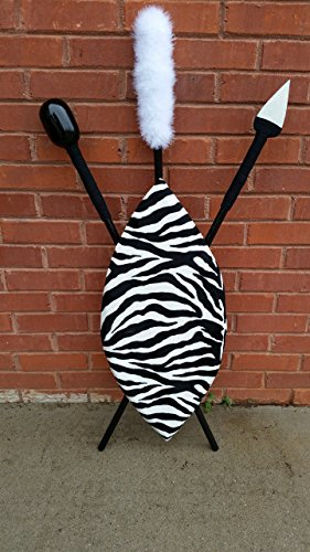 Zebra Hand Crafted African Shield and Spear ()