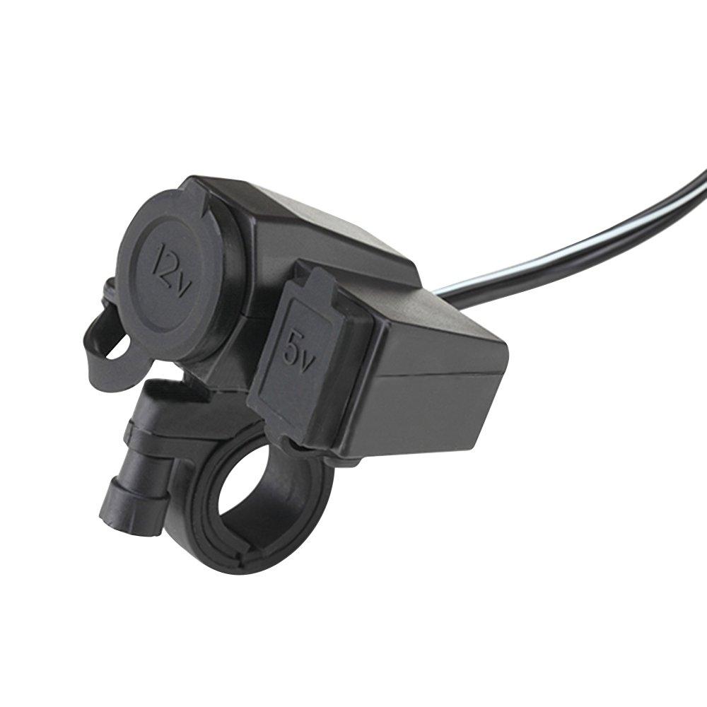 lecimo 12V USB Cigarette Lighter Waterproof Power Port Outlet Socket For Motocycle