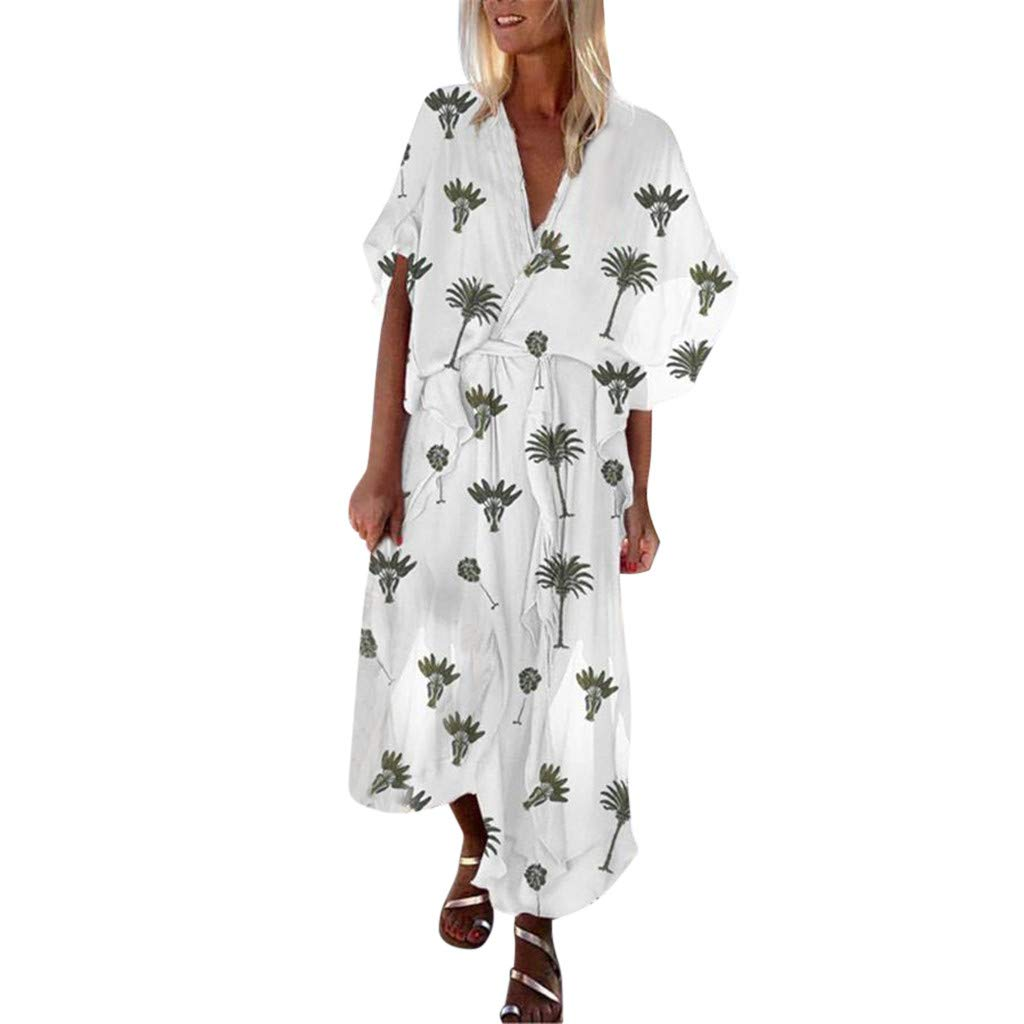 Ultramall Fashion Women Short Sleeve V-Neck Coconut Printed Sexy Long Bohemia Dress White by Ultramall (Image #1)
