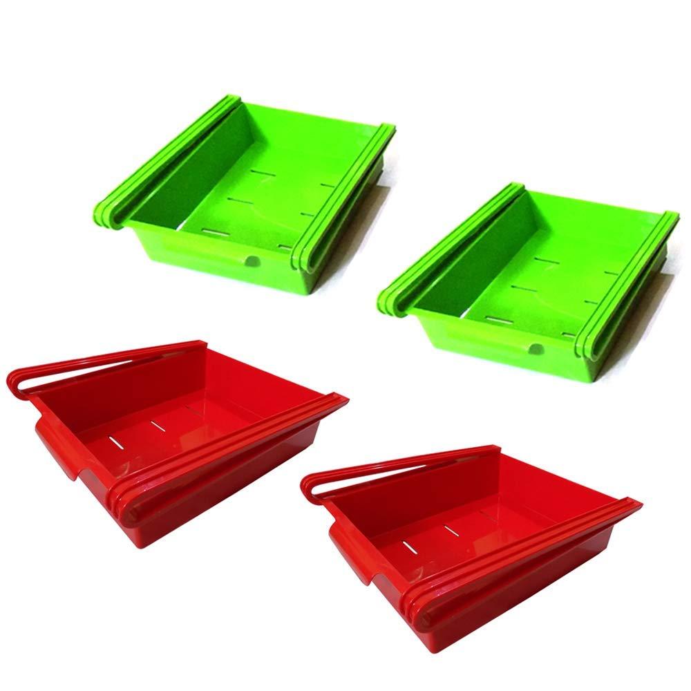 DeoDap Kitchen Fridge Space Saver Organizer Slide Storage Racks Shelf (4 Pcs)