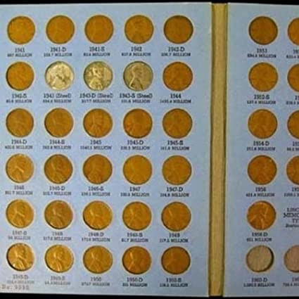 Complete Lincoln Wheat Penny Cent Collection Album 1941 - 1958 PDS Set