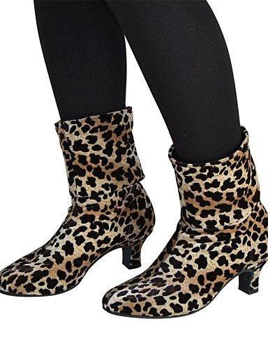 ShangYi Non Customizable Women's Dance Shoes Modern Velvet Cuban Heel Black/Leopard leopard rzYDVi3P