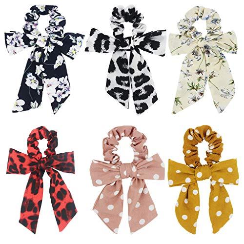 SUSULU 6pcs Bow Hair Scrunchies Chiffon Print Hair Ties Elastic Hair Band Ponytail Holder Accessories for Women Floral Polka Dot Leopard Print -  furling, HT012MXUS*6