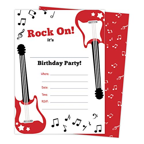 Guitar 2 Music Happy Birthday Invitations Invite Cards (25 Count) With Envelopes & Seal Stickers Vinyl Boys Girls Kids Party (25ct) ()