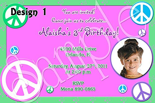 Peace Hippy Tie Dye Personalized Birthday Invitations ()