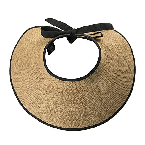 Womens Ladies Summer Beach Fashion Back Visors Roll Up Floppy Ponytail Sun Protection Open Top Straw Bow Hats Khaki (Floppy Hat With Bow For Women)