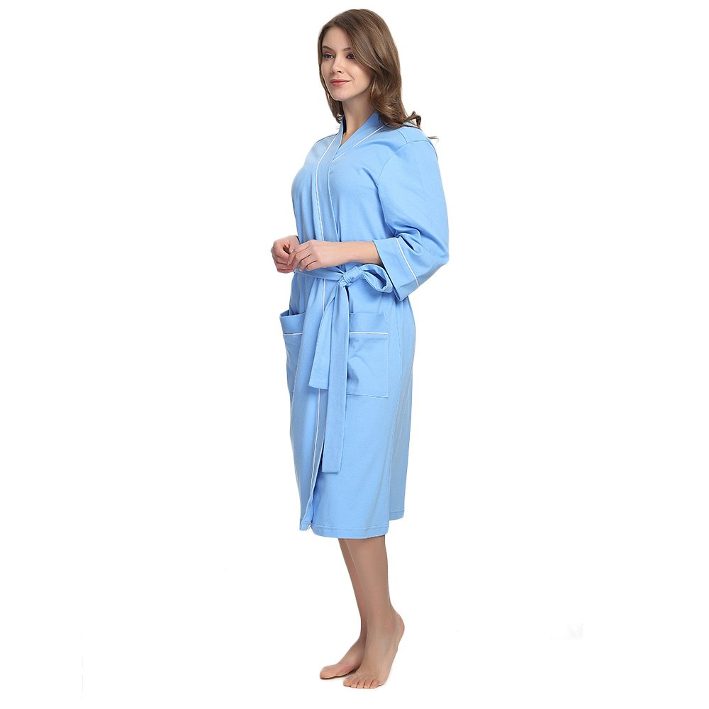 84fe22bd1b09 M M Mymoon Womens Cotton Robe Soft Kimono Spa Knit Bathrobe Lightweight Long  larger image