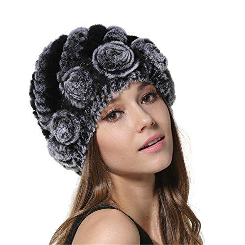 MEEFUR Womens Genuine Rex Rabbit Fur Hats Flower Real Fur Knitted Beanies Winter Warm Skullies Caps Multicolored