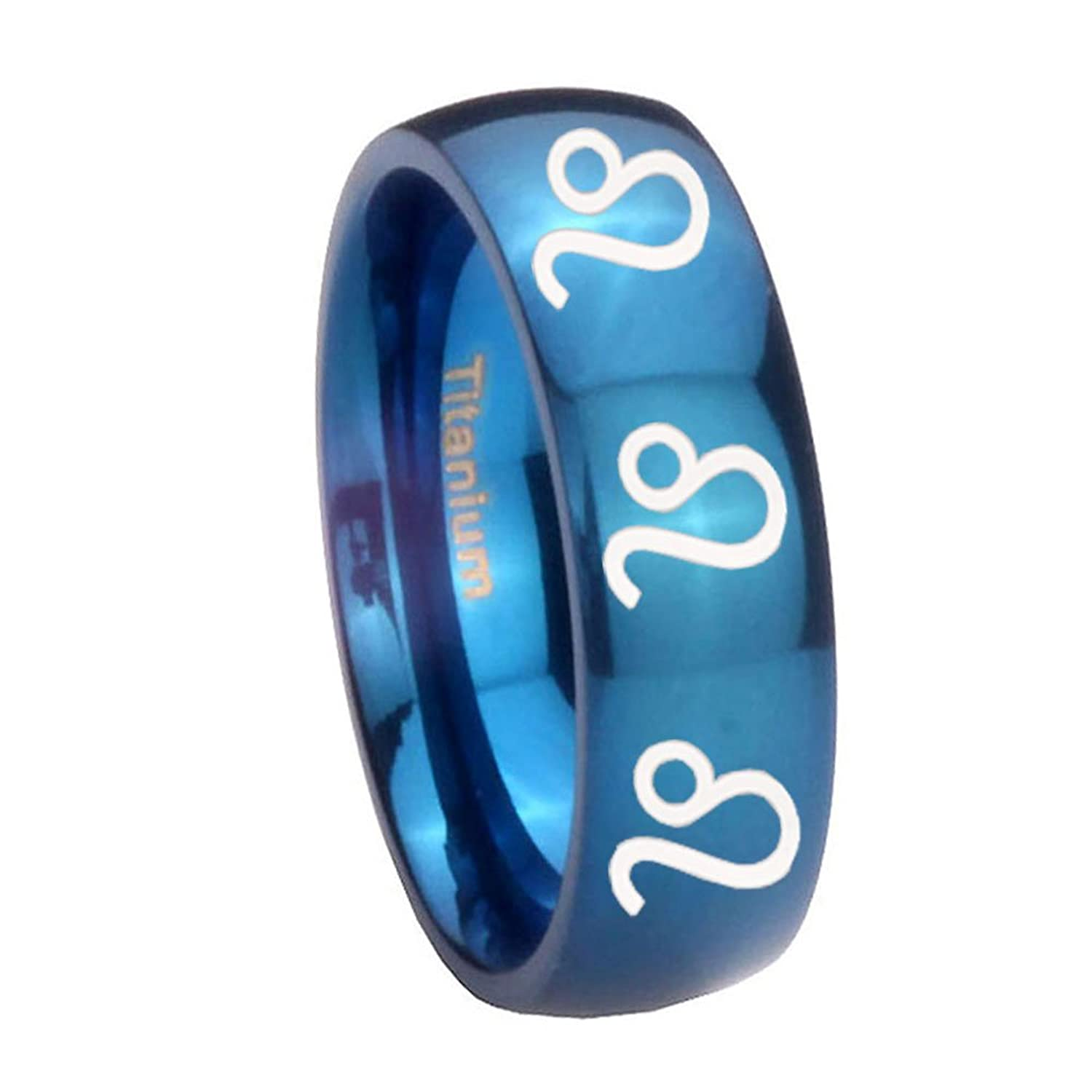 Blue IP Titanium 8 Leo Zodiac Dome Engraved Ring ( 6MM, 8MM ) Size 4 to 13