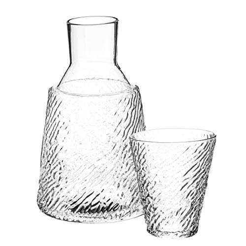 - Trinkware Bedside Night Carafe With Tumbler Glass - 2 Piece Water Set - Zebra Striped Etching