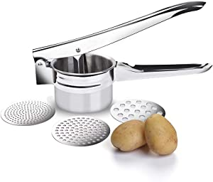 LAIEN Potato Ricer Stainless Steel Potato Masher-Manual Masher for Fruits, Vegetables and More, with 3 Interchangeable Gasket, Fruit Juicer, Lemon Squeezer, Vegetable Masher Tools