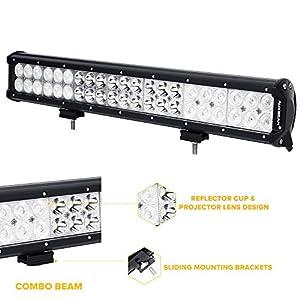 "Auxbeam 20"" LED Light Bar 126W CREE LED Bar with 42pcs 3W CREE Driving Light Combo Beam Waterproof for driving Off Road ATV SUV UTV Jeep"