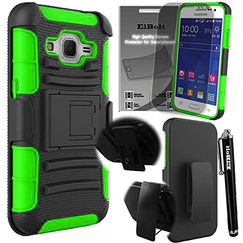 Samsung Galaxy Prevail LTE Core Prime G360 Armor Holster Belt Clip Stand Case - Green with Free HD Screen Protector and Stylus Pen