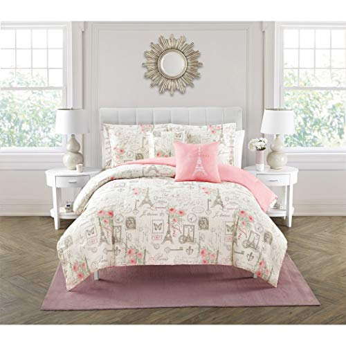(LV 5 Piece Girls Off White Beige Pink I Love Paris Comforter King Set, Romantic France Eiffel Tower Themed Bedding Love Key Post Card Stamp Floral Butterfly JeTaime Graphic Pattern, Polyester)