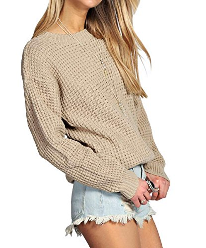 Chunky Knit Jumper (Womens Ladies Oversized Baggy Long Thick Knitted Plain Chunky Top Knit Jumper S-XL (S/M, Beige))