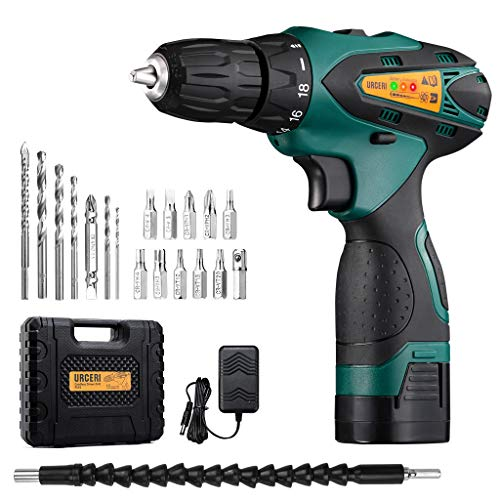 URCERI Cordless Drill Driver 14.4 V 2000 mAh Lithium-ion Battery 18+1 Keyless Clutch 2 Speed Compact Drill Set with LED, Multiple Sockets, Screwdriver, Drill Bits, Magnetic Tip Holder and Carry Case