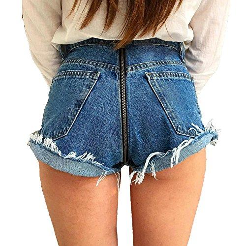 Pantalon Large Femme Taille Haute?Jeans Fermeture clair Avant Arrire Sexy Pantalon Cloche Micro Couleur Pure Pantalon Long Automne Short Bleu Clair