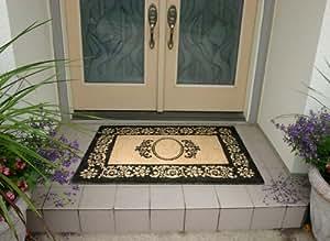 "Coco Mats N More Plain (No Personalization) Flowering Scrolls Black Border 38""x60"" Doormat"