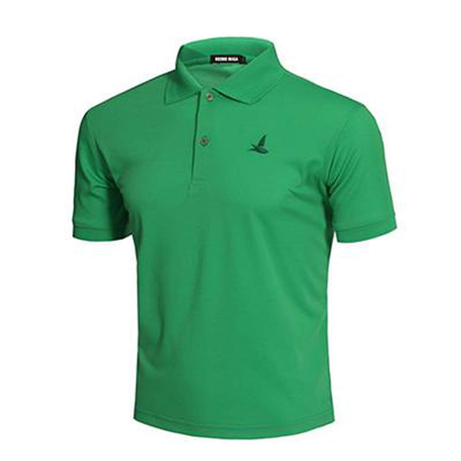 Mens Short Sleeve 2019 Summer Male Polo Shirts Dry Slim Fit Polos MP0001,Green,L