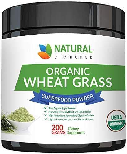 Wheatgrass Powder - USDA Certified Organic Wheat Grass Powder That Is Rich In Essential Amino Acids, Chlorophyll, Antioxidants, Fatty Acids, Minerals & Vitamins - US Grown - Vegan & Non-GMO Superfoods