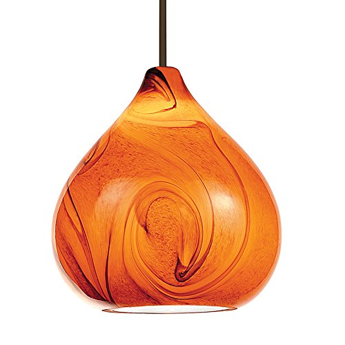WAC Lighting MP-933-AM/DB Truffle Collection 1-Light Monopoint Pendant, Dark Bronze with Amber Glass (Monopoint Collection)