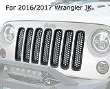 Automotive : opar Matte Black Clip in Front Grille Mesh Inserts cover Honeycomb Kit for 2016 2017 Jeep JK Wrangler&Wrangler Unlimited(Pack of 7)
