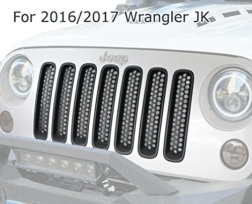 opar Matte Black Clip in Front Grille Mesh Inserts cover Honeycomb Kit for 2016 2017 Jeep JK Wrangler&Wrangler Unlimited(Pack of 7)