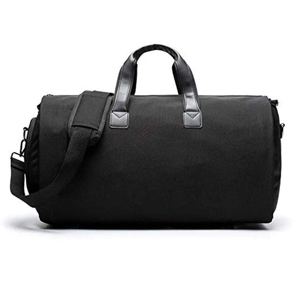 Black 02  HITTIME 2 in 1 Congreenible Garment Duffle Bag with Shoulder Strap,Foldable Carry On Suit Bag with shoes Compartment for Men Women, (Black)