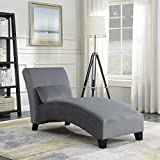 Belleze Indoor Furniture Chaise Lounge Living Room Chair Contemporary Design with Hardwood Legs Sofa Couch, Gray