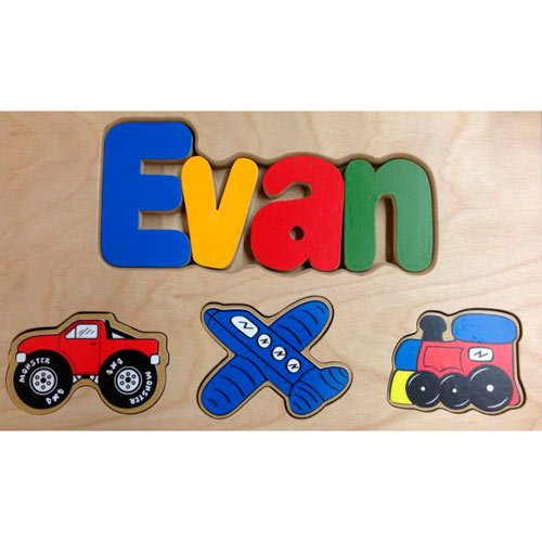 Personalized Transportation Wooden Puzzle Stool- Stool Color: Natural, Letter Color: Primary, 1-8 Letters by babykidsbargains