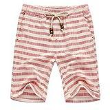 Mens Summer Casual Linen Drawstring Striped Beach Shorts,Red/White,3XL