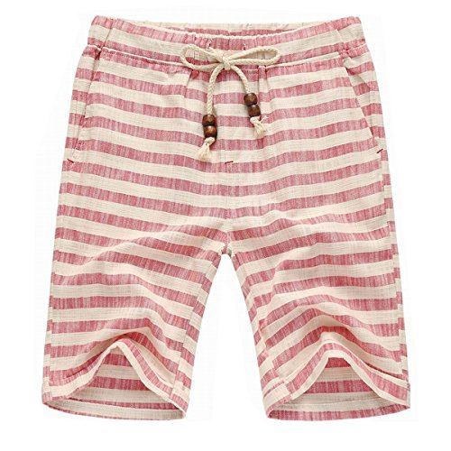 - Banana Bucket Men's Summer Casual Linen Drawstring Striped Beach Shorts