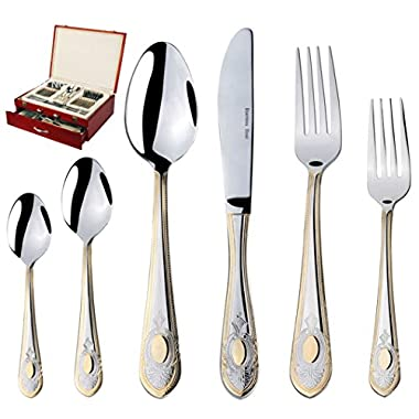 World Gifts  Medallion  75-Piece Flatware Silverware Set, Dining Service for 12, Premium 18/10 Surgical Stainless Steel, 24K Gold-Plated Hostess Serving Set, Cherry Color High Gloss Luxury Wooden Case