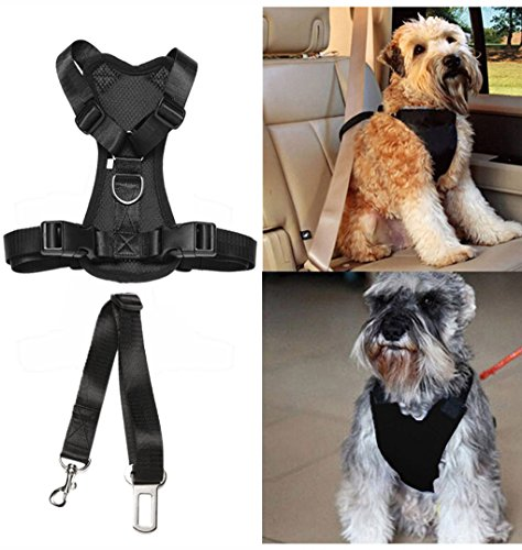 Pet Dog Cat Car Auto Vehicle Safety Harness with Tether Seatbelt Chest Plate Car Dog Harness, Best Seat Belt Car Harness Restraints Seatbelts for Pets Dogs (Chest Cat)
